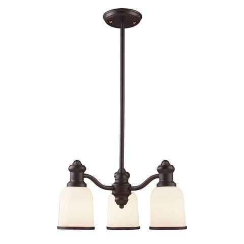 Brooksdale 3 Light Chandelier In Oiled Bronze And White Glass