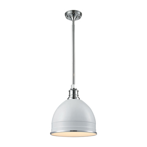 Carolton 1 Light Pendant In Gloss White And Chrome
