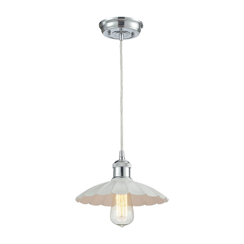 Corrine 1 Light Pendant In Polished Chrome And White