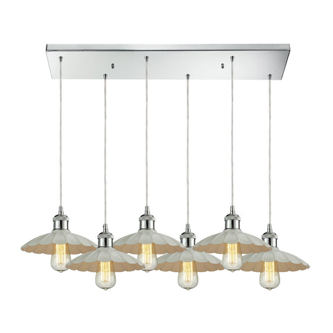 Corrine 6 Light Pendant In Polished Chrome And White