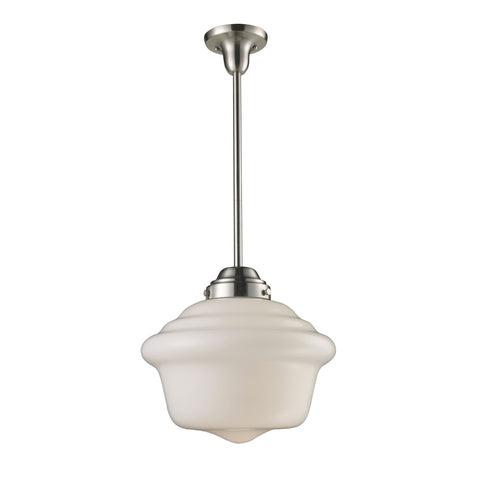 Schoolhouse Pendants 1 Light Pendant In Satin Nickel And White Glass