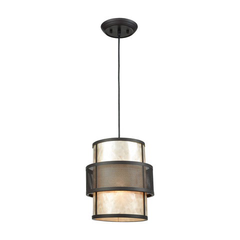 Beckley 1 Light Pendant In Oil Rubbed Bronze With Tan Mica - Includes Recessed Lighting Kit