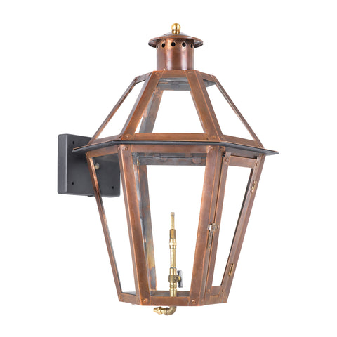 Grande Isle Outdoor Gas Wall Lantern Aged Copper