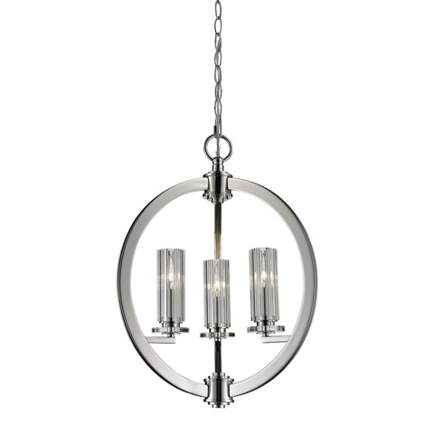 Lindisfarne 3 Light Pendant In Polished Nickel And Clear Crystal