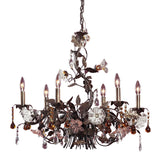 Cristallo Fiore 6 Light Chandelier In Deep Rust With Crystal Florets