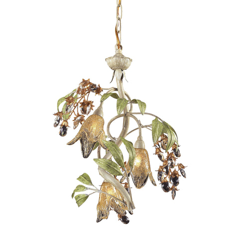 Huarco 3 Light Chandelier In Seashell And Green