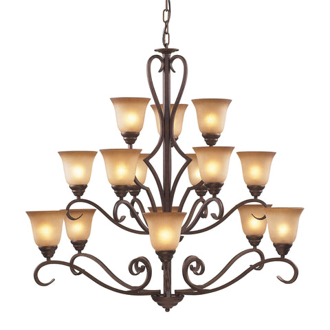 Lawrenceville 15 Light Chandelier In Mocha With Antique Amber Glass