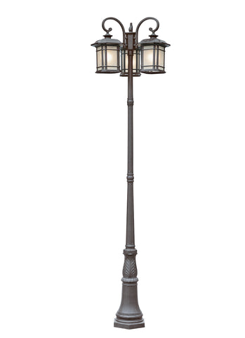 PL-5827 BK Corner Window 3 Lantern Lamp Post