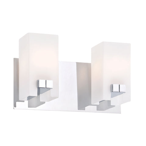 Gemelo 2 Light Vanity In Chrome And White Opal Glass