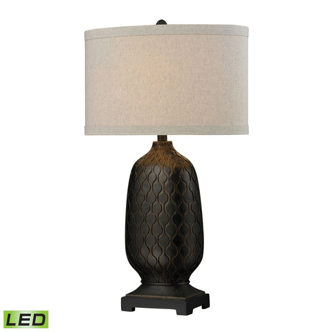 Bronze Oval LED Table Lamp with Hand Carved Accents