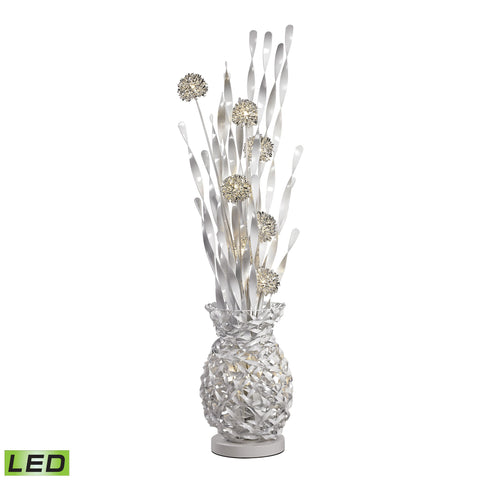 Calico Contemporary Floral Display Floor Lamp In Silver Finish