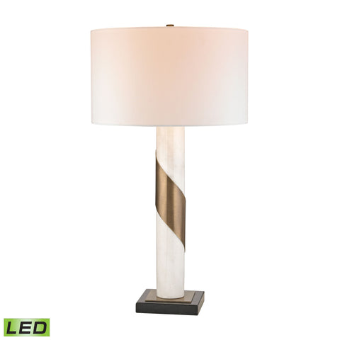 Brass Strapped Marble LED Lamp