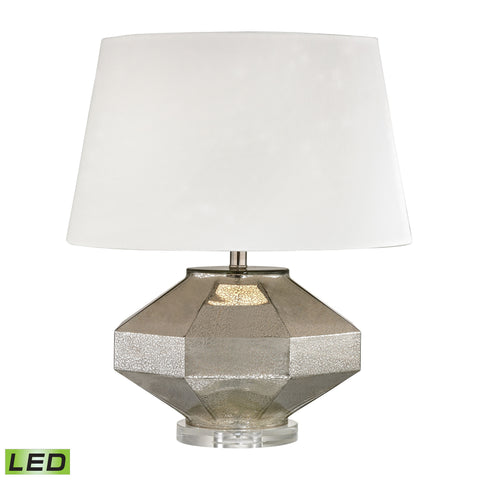 Angular Blown Glass LED Table Lamp in Silver
