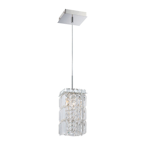 King 1 Light Pendant In Chrome And Clear Crystal Glass - Includes Recessed Lighting Kit