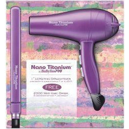 Babyliss Nano Titanium Limited Edition Flat Iron and Hair Blow Dryer - Go Natural 24/7, LLC