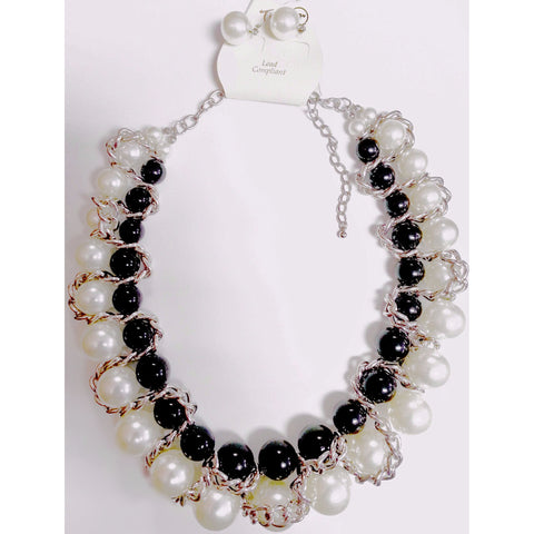 Go Natural 24/7 SET -Black & White Necklace with Earring - Go Natural 24/7, LLC
