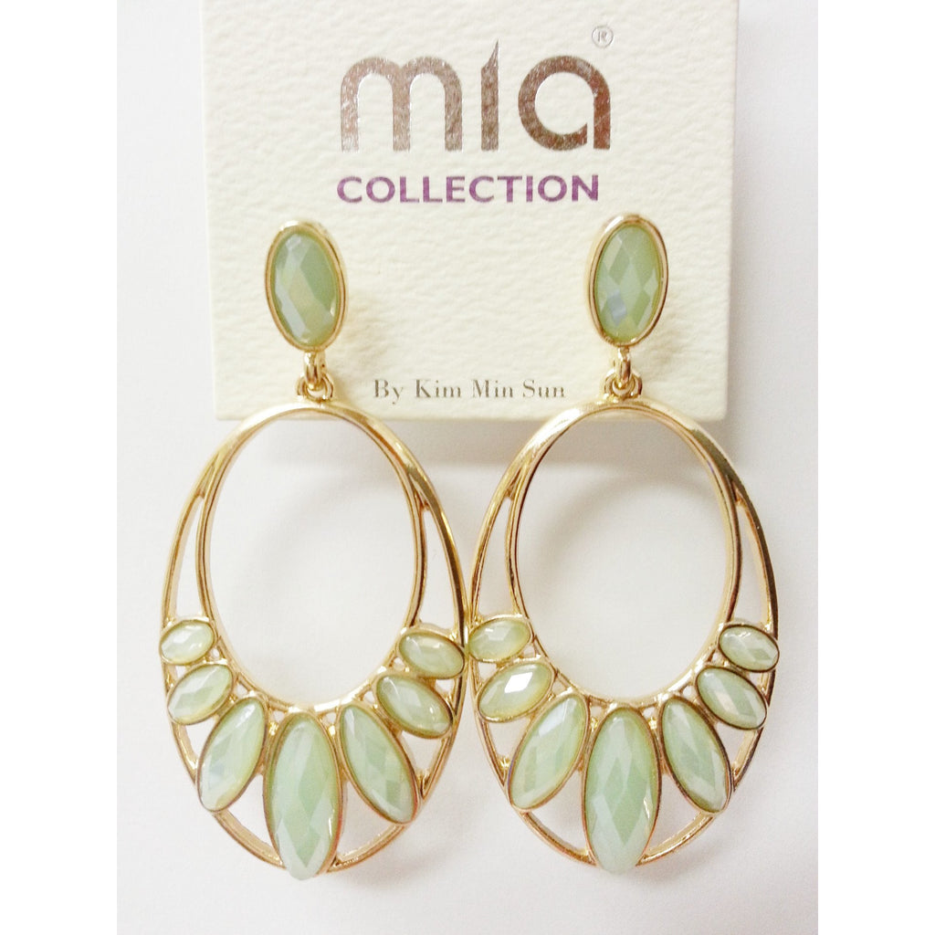 Go Natural 24/7 Earring -Sea Green Peacock Hoops - Go Natural 24/7, LLC