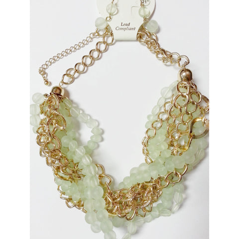 Go Natural 24/7 SET -Gold & Sea Green Necklace with Earring - Go Natural 24/7, LLC