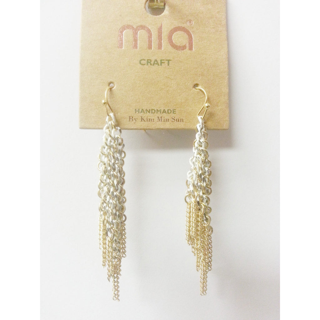 Mia Collections -Gold & White Danglers