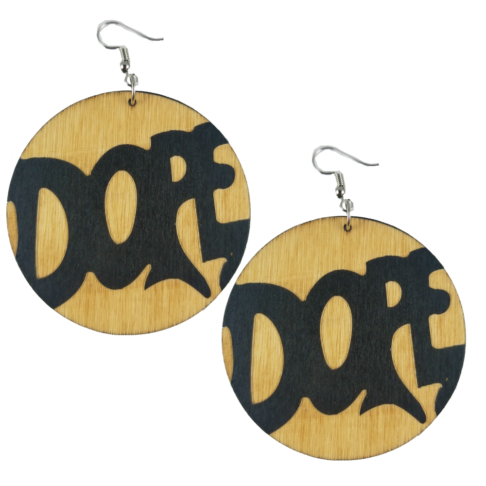 "Locs Perfected ""Dope"" Wood Earrings"