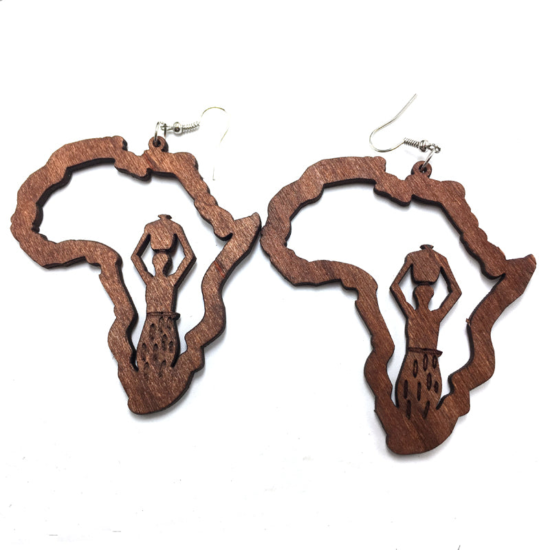 "Locs Perfected ""A Woman's Work"" Wooden Earrings"