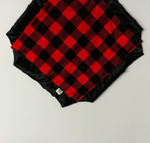 Red and Black Buffalo Check Minky Lovie/ Security Blanket with Black Satin Trim