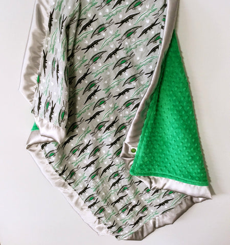 Flannel Alligator Print With Green Minky Baby Blanket and Silver Satin Trim