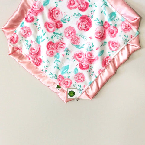 Pink and Teal Floral Minky Lovie / Security Blanket with Pink Satin Trim Gift Set including bib and burp cloth
