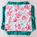 Pink and Teal Floral Minky Lovie / Security Blanket with Teal Satin Trim