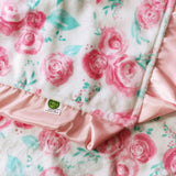 floral minky with Satin Trim