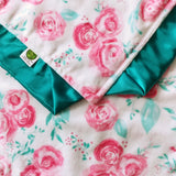 Pink and Teal Floral Minky Baby Blanket with Teal Satin Trim