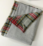 Fall Plaid Baby Blanket with Gray, Red, Yellow and Black