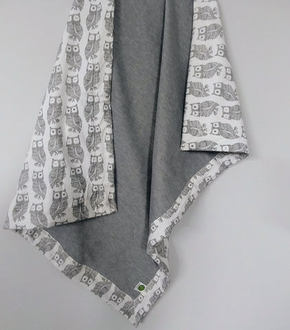 Cozy Baby Blanket with Owls and Gray Sweatshirt Fleece