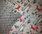 Gray Woodland Print Flannel Baby Blanket with Silver Gray Minky
