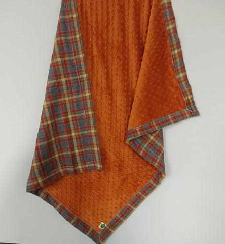 Orange and Gray Plaid Minky Baby Blanket