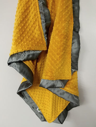 Golden Yellow Minky Baby Blanket with Charcoal Gray Satin Trim
