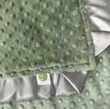 Olive Green Minky Baby Blanket with Charcoal Gray Satin Trim