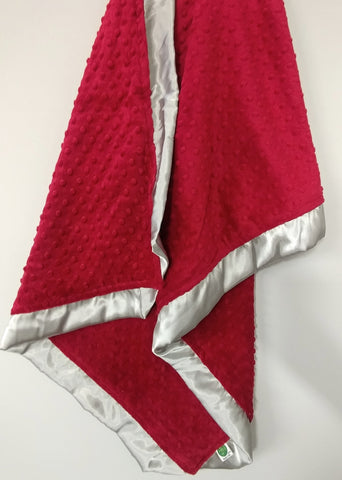 Crimson Red Minky Baby Blanket with Silver Gray Satin Trim