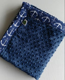 Anchor Print Cotton Gauze and Minky Baby Blanket