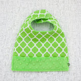 Moroccan Quatrefoil Snap Baby Bib 2 Pack Navy and Lime