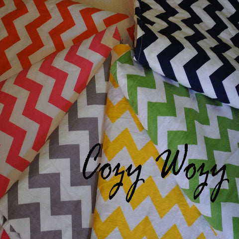 Chevron Baby Blanket with White Minky Back
