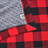 Buffalo Plaid Baby Blanket with Gray or Black Minky