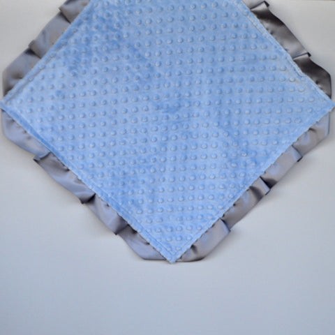 Signature Minky Lovie/ Security Blanket with satin Trim, Pastel Blue and Silver