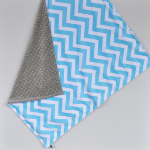 Turquoise and Gray Chevron Minky Baby Blanket