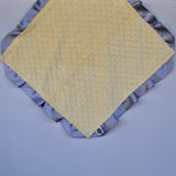 Signature Minky Lovie/ Security Blanket with satin Trim, Pastel Yellow and Silver
