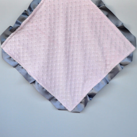 Signature Minky Lovie/ Security Blanket with satin Trim, Pastel Pink and Silver