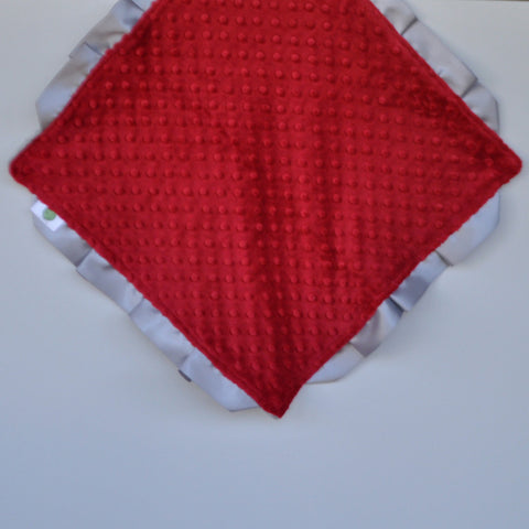 Signature Minky Lovie/ Security Blanket with satin trim, Crimson and Gray