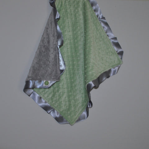 Signature Minky Lovie/ Security Blanket with satin Trim, Sage Green and Silver