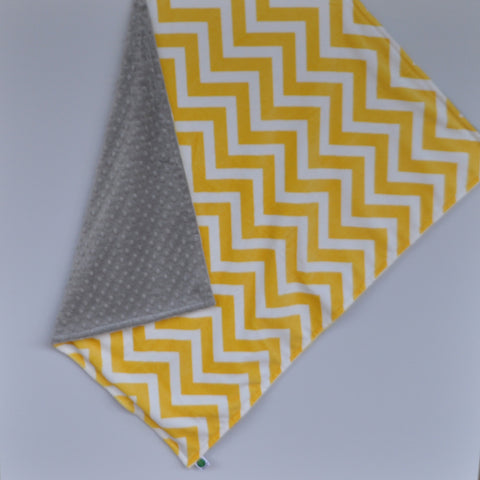 Yellow Chevron Baby Blanket with Gray Minky