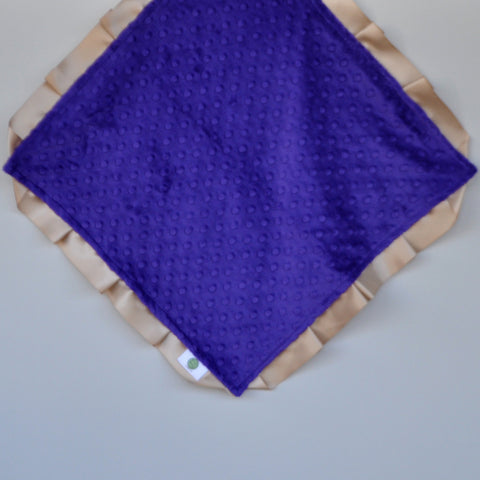 Signature Minky Lovie/ Security Blanket with satin Trim, Purple and Tan